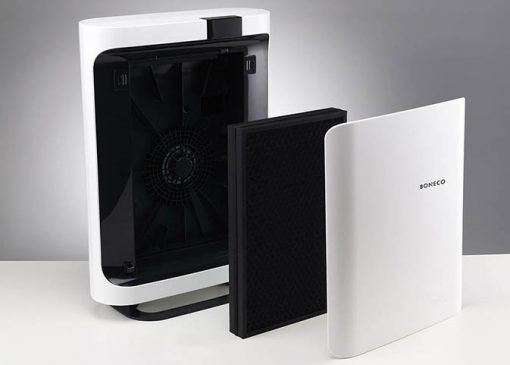 iovus boneco p500 three quarter rear view on grey background showing filter and internal fan